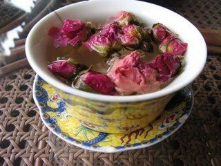 Cup of rose tea, tea house, Beijing, China
