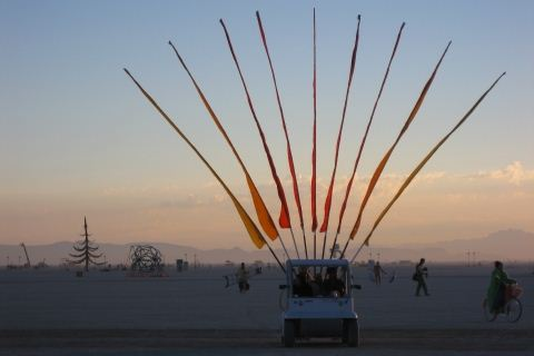 Burning Man Flag Car