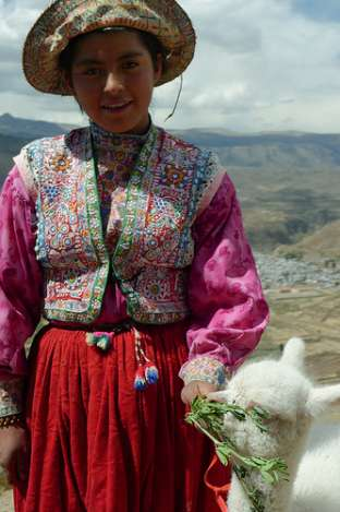 Girl & Baby Alpaca Colca Canyon Peru